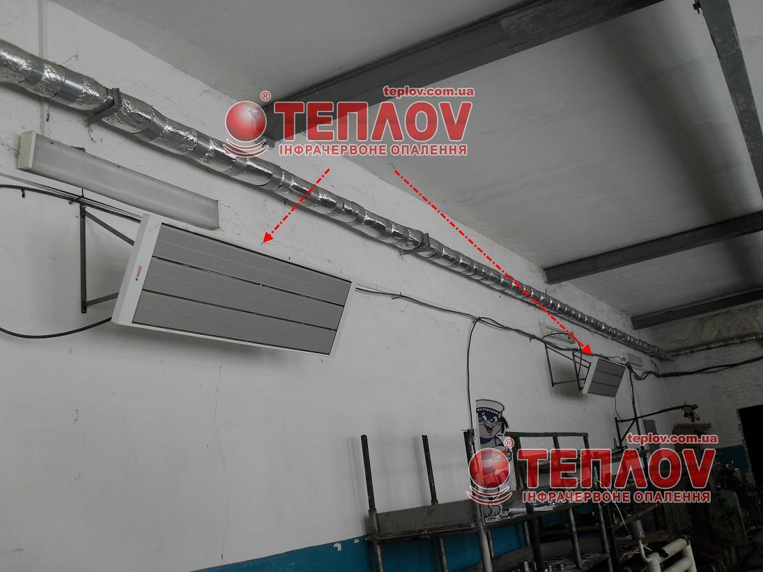 промышленный обогрев помещений электричеством с потолка