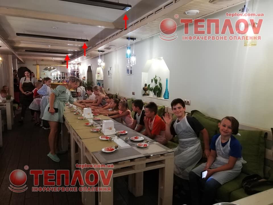 Ресторан Бурштин отоплен с помощью обогревателей Теплов