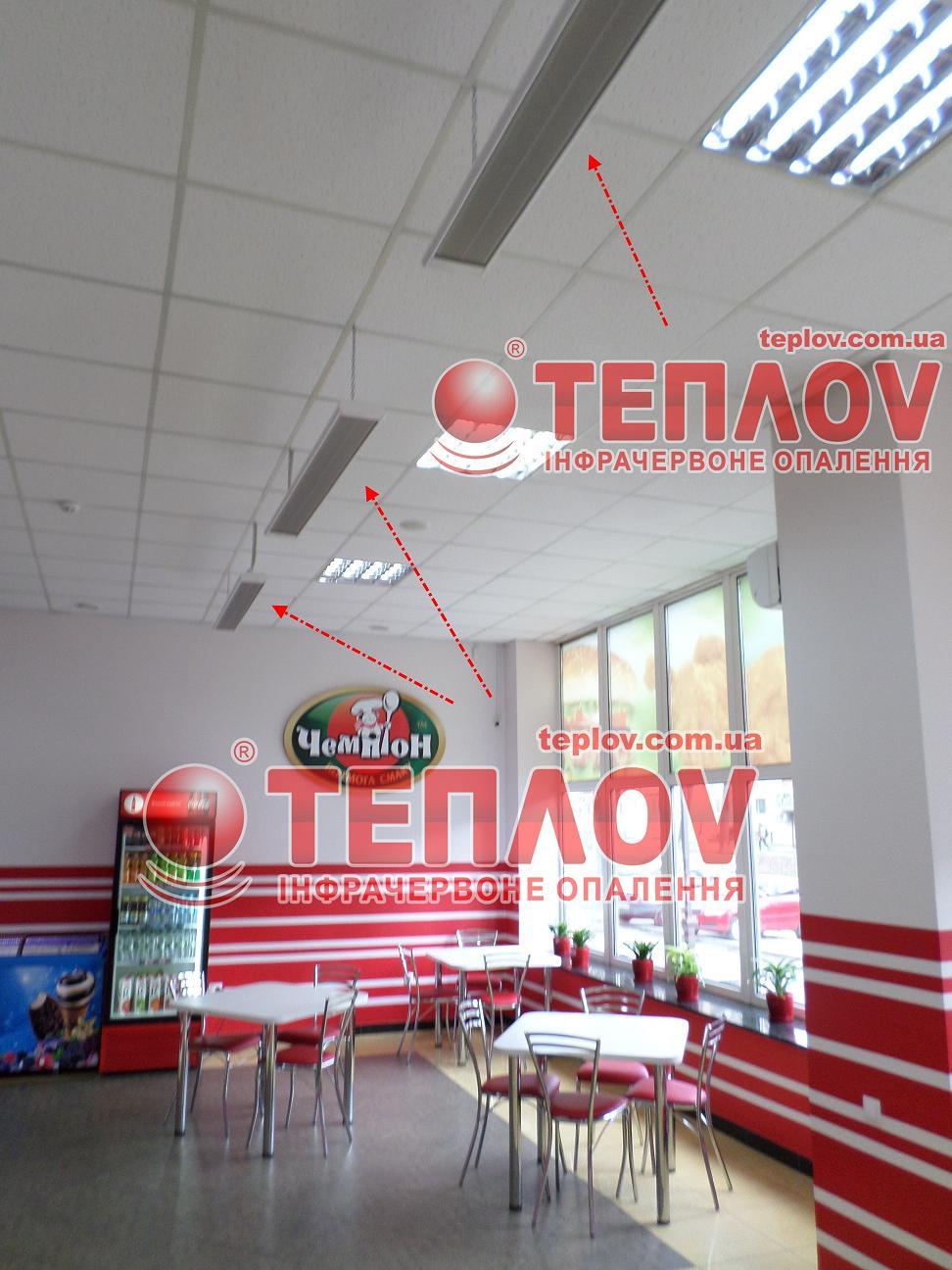 обогрев кафе экономными инфракрасными потолочными панелями