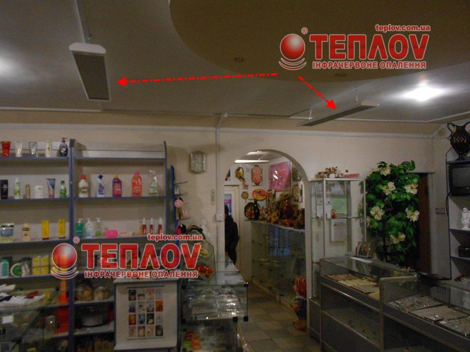 отопление магазина потолочными инфракрасными обогревателями Теплов