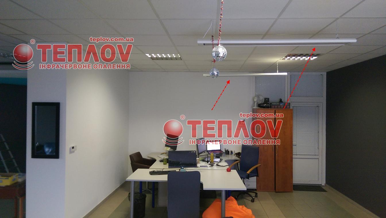 Электрическое отопление офиса экономичными обогревателя Теплов