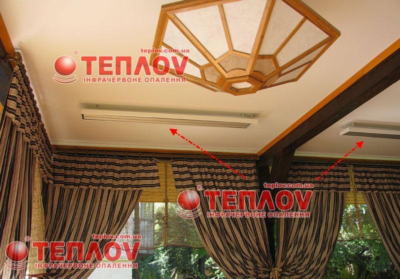 экономичное отопление летней площадки потолочными обогревателями