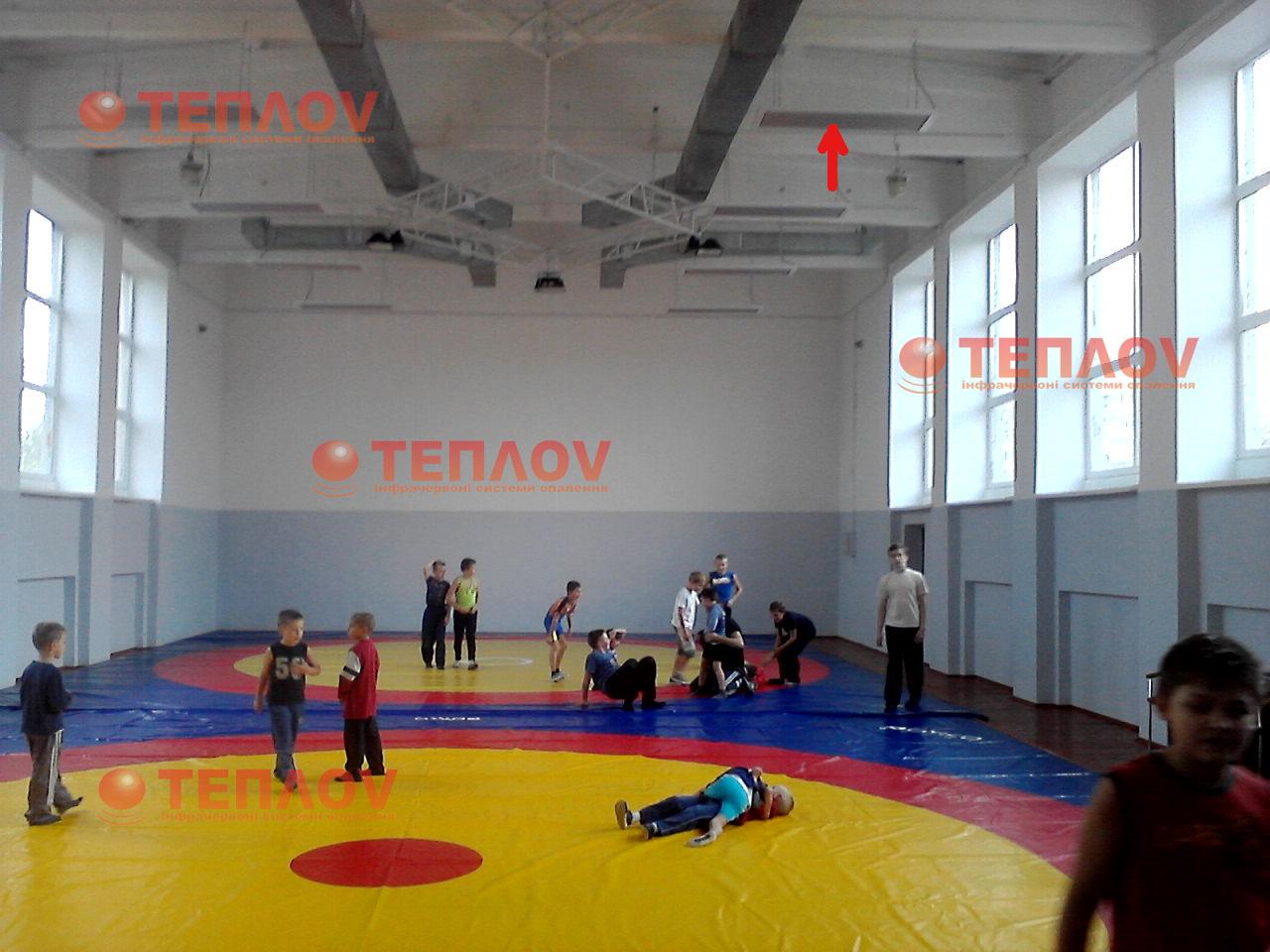 отопление спортзала ДК Текстильщик инфракрасными обогревателями