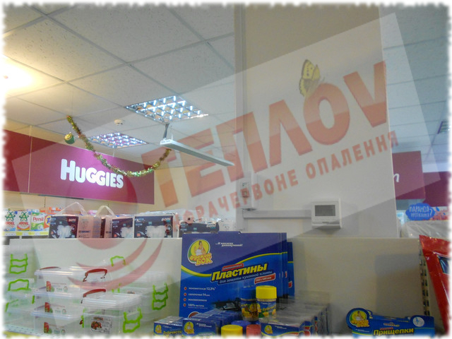 потолочное отопление магазина ИК обогревателями